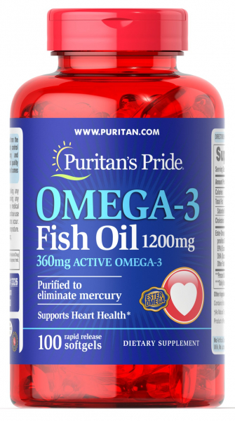 Puritan`s Pride Omega 3 Fish Oil 1200 mg 100 softgels 0