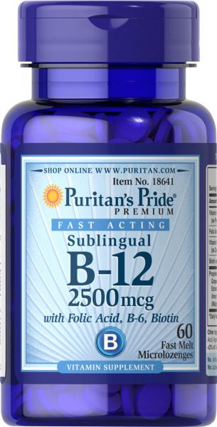 Puritan`s Pride B-12 2500 mcg Sublingual 60 caps 0