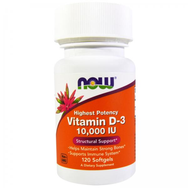 Now Vitamin D3 10000 IU 120 softgels 0