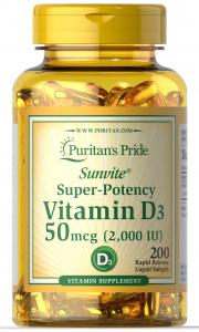 Puritan's Pride Vitamin D3 2000 IU 200 softgels