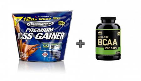 Muscletech Premium Mass Gainer 5,4 kg + ON BCAA 1000 400 caps