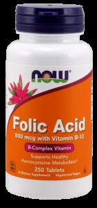 Now Folic Acid 800 mcg with Vit B-12 250 tab