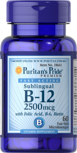 Puritan`s Pride Sublingual B-12 2500 mcg 60 caps