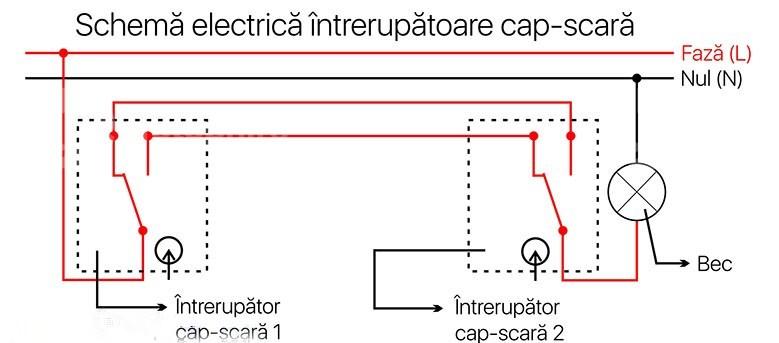 Schema electrica intrerupatoare cap-scara