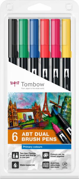 Set 6 Culori Primare Dual Brush Pen Tombow 0