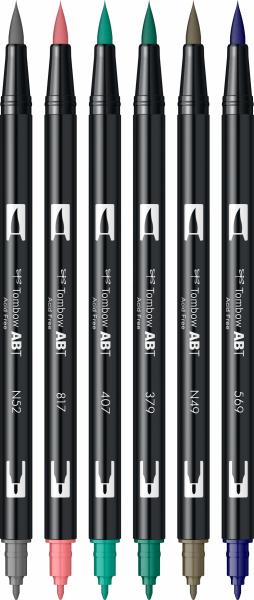 Set 6 Culori Vintage ABT Dual Brush Pen Tombow 1