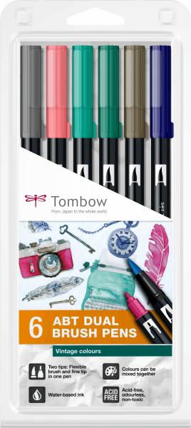 Set 6 Culori Vintage ABT Dual Brush Pen Tombow 0