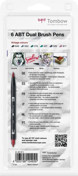 Set 6 Culori Vintage ABT Dual Brush Pen Tombow 3