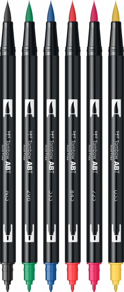 Set 6 Culori Primare Dual Brush Pen Tombow 2