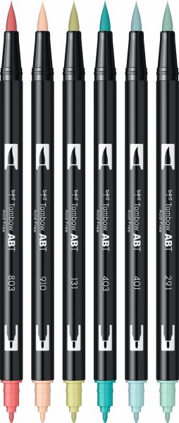 Set 6 Culori Pastel Dual Brush Pen Tombow 2