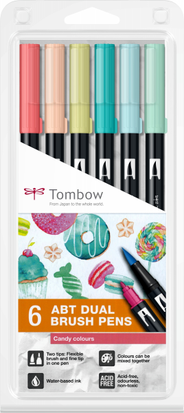 Set 6 Culori Pastel Dual Brush Pen Tombow 0