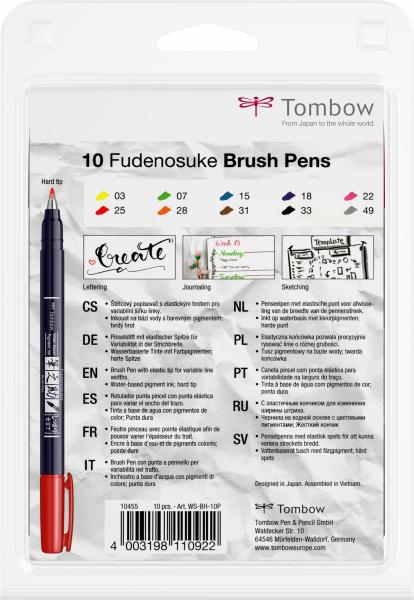 Fudenosuke Small Writing Vivid Colour Hard, Set 10 Culori Tombow 3