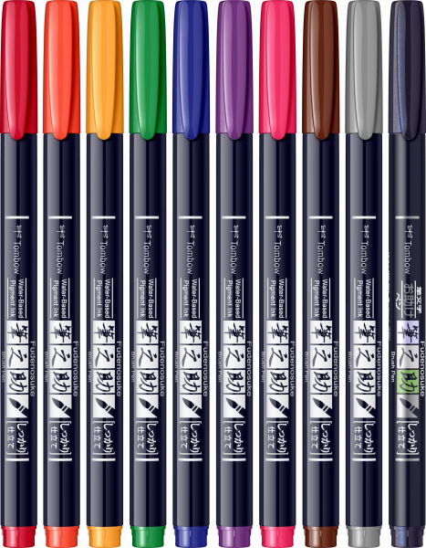 Fudenosuke Small Writing Vivid Colour Hard, Set 10 Culori Tombow 1
