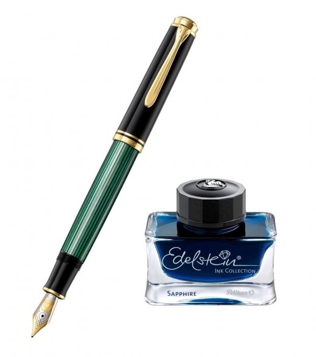 Set Stilou Souveran M800 Black-Green + Calimara Edelstein Sapphire 50 ml Pelikan