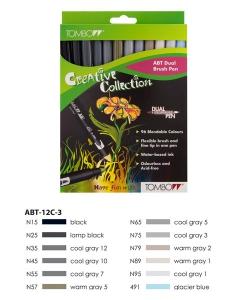 ABT Dual Brush Pen Set 12 Colours Grey Colours  Tombow