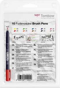 Fudenosuke Small Writing Vivid Colour Hard, Set 10 Culori Tombow3