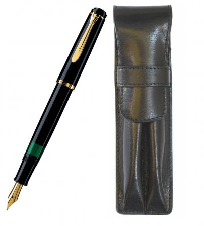 Set Pelikan Stilou Classic M200 Black+Etui Carla Rossini Black pt 2 Instrumente0