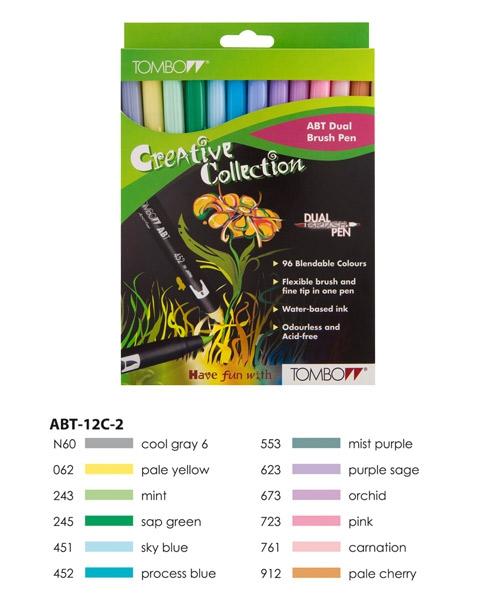 ABT Dual Brush Pen Set 12 Colours Pastel Colours Tombow