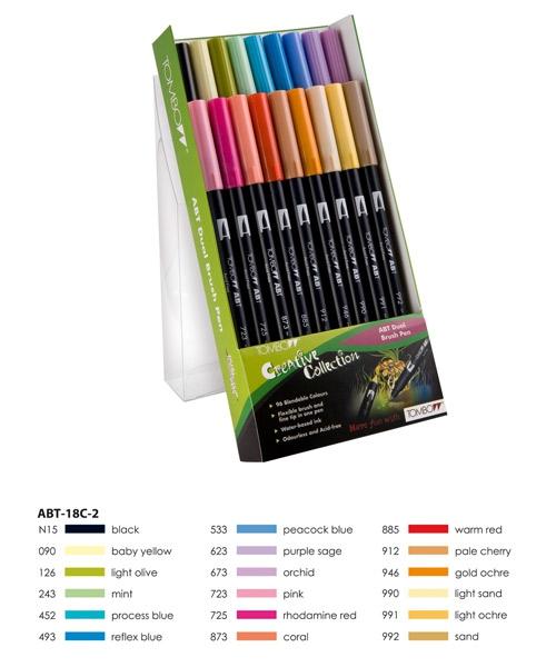 ABT Dual Brush Pen Set 18 Colours Secundary Colours Tombow