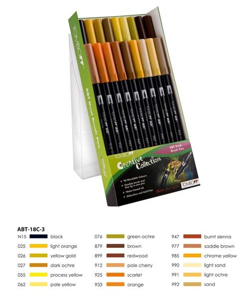 ABT Dual Brush Pen Set 18 Colours Earth Colours Tombow