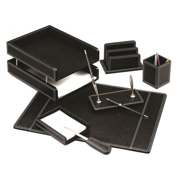 Set de birou din piele eco neagra - 7 elemente Forpus