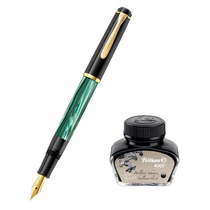 Set Stilou Classic M200 Verde Marmorat + Calimara 4001 Black 30 ml Pelikan