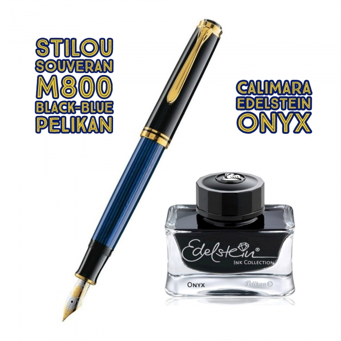 Set Stilou Souveran M800 Black-Blue + Calimara Edelstein Onix 50 ml Pelikan