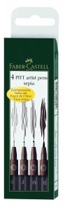 PITT ARTIST PEN SET 4 BUC SEPIA FABER-CASTELL