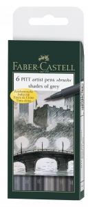 PITT ARTIST PEN SET 6 BUC GRI FABER-CASTELL
