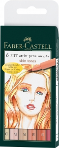 PITT ARTIST PEN SET 6 BUC TONURILE PIELII FABER-CASTELL