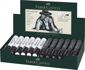 PITT ARTIST PEN BIG BRUSH ALB-NEGRU DISPLAY 24 BUC FABER-CASTELL