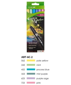 ABT Dual Brush Pen Set 6 Colours Pastel Colours Tombow