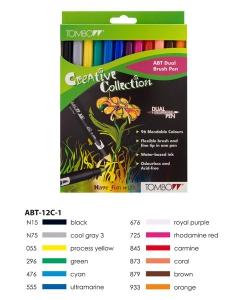 ABT Dual Brush Pen Set 12 Colours Primary Colours  Tombow
