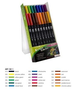 ABT Dual Brush Pen Set 18 Colours Primary Colours Tombow