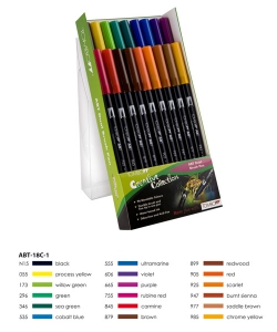 ABT Dual Brush Pen Set 18 Colours Primary Colours Tombow