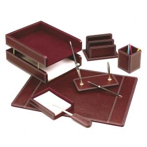 Set de birou din piele eco visinie - 7 elemente Forpus
