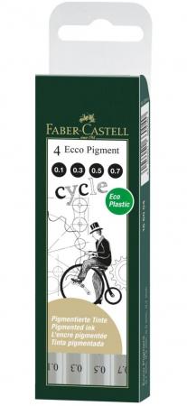 Set 4 Liner Eco Pigment Negru 0.1, 0.3, 0.5, 0.7 Faber-Castell