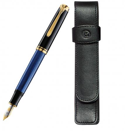 Set Pelikan Stilou Souveran M600 Black Blue+Etui Piele TG11