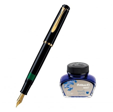 Set Stilou Classic M200 Black+ Calimara 4001 Blue 30 ml Pelikan