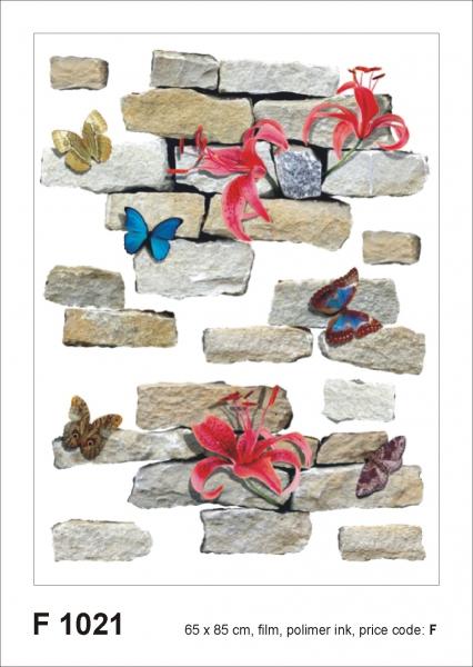 Sticker decorativ F1021 Caramizi, flori & fluturi