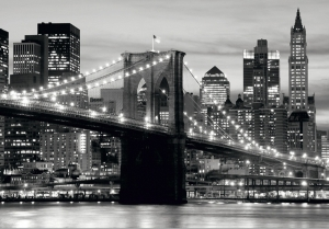 Fototapet FTS 0199 Brooklyn Bridge in alb si negru0