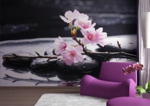 Fototapet FTS 0185 Flori roz si pietre1