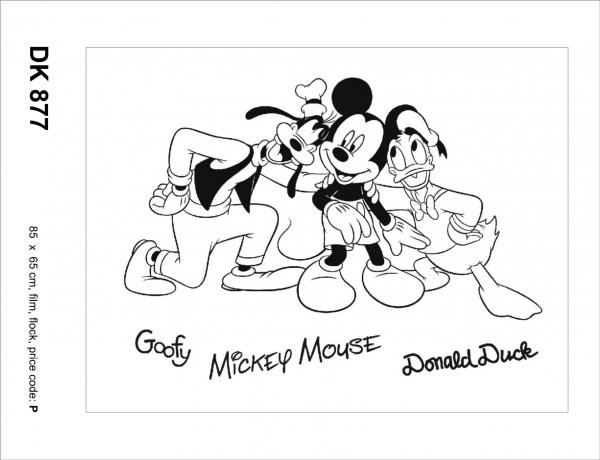 Sticker decorativ DK877 Mickey, Goofy & Donald