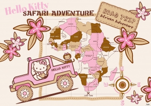 Fototapet 455 P4 Hello Kitty Safari