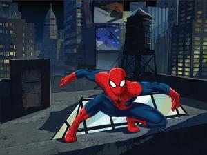 Fototapet FTDxxl 2211 Spiderman pe acoperis