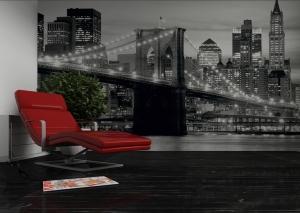 Fototapet FTS 0199 Brooklyn Bridge in alb si negru