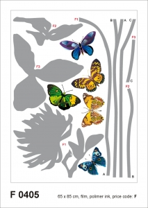 Sticker decorativ F0405 Fluturi & Flori